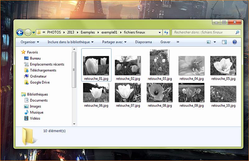 Lot d'images modifiées par les scripts